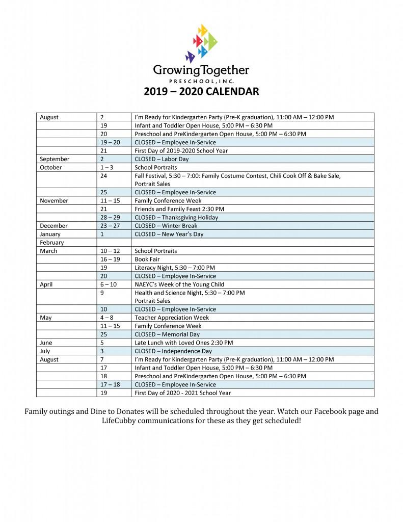 2019 – 2020 CALENDAR