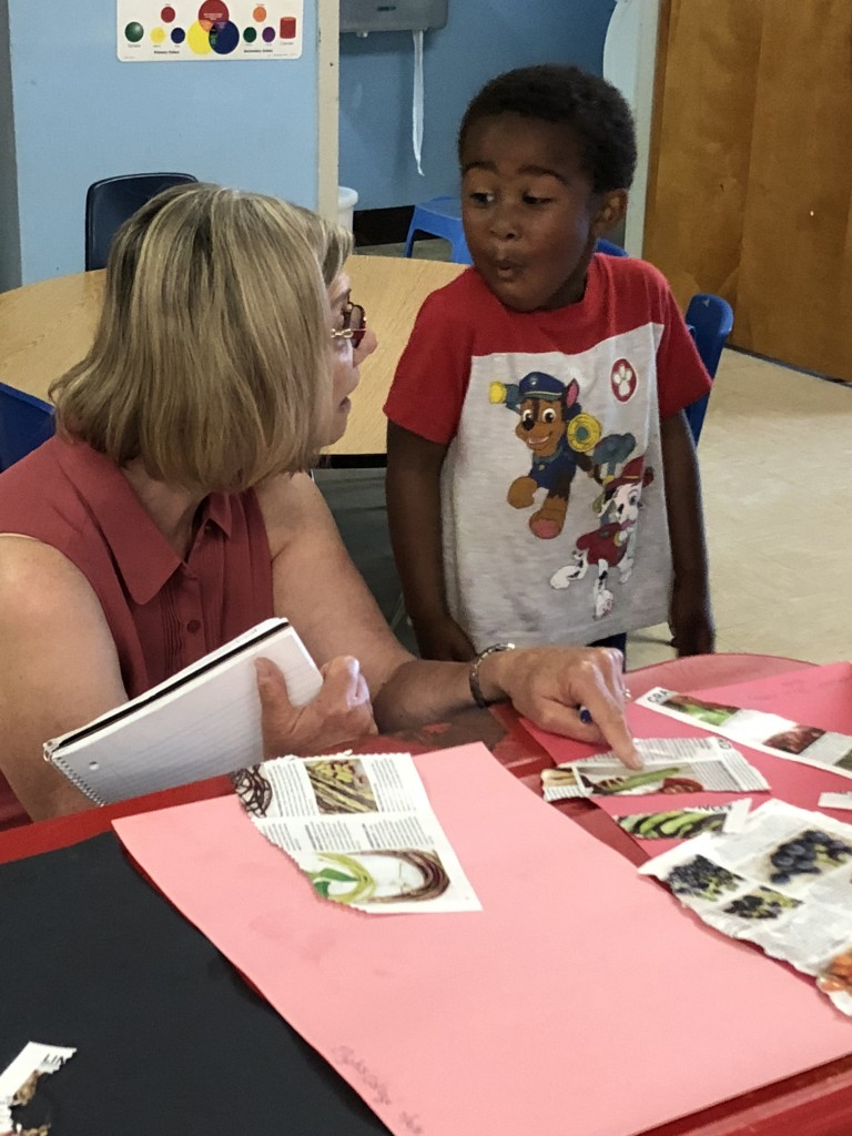 Tayshawn works with his speech therapist, Ms. Sharon.